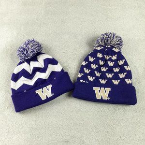 Duo of 2 Washington Huskies Beanies Hats PomPom OS